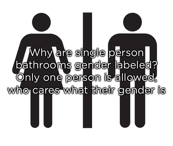 Font - Why are single person bathrooms gender labeled? Only one person is allowed, who cares what their gender is