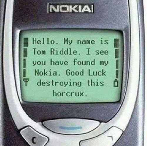 Funny meme about tom riddle, nokia phone as a horcrux.