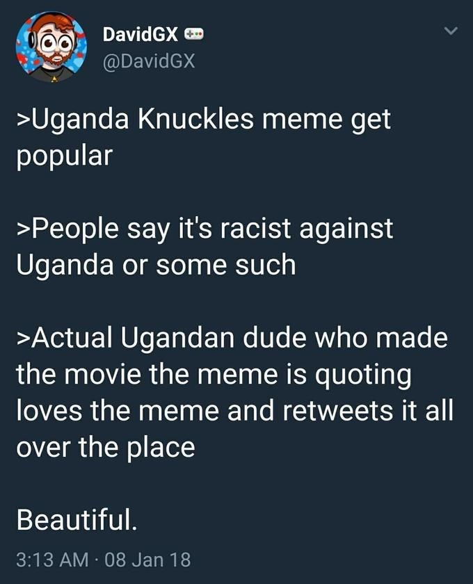 Text - DavidGX @DavidGX >Uganda Knuckles meme get popular >People say it's racist against Uganda or some such >Actual Ugandan dude who made the movie the meme is quoting loves the meme and retweets it all over the place Beautiful. 3:13 AM 08 Jan 18