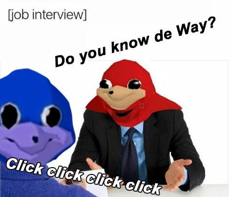 Cartoon - job interview Do you know de Way? Click click click click