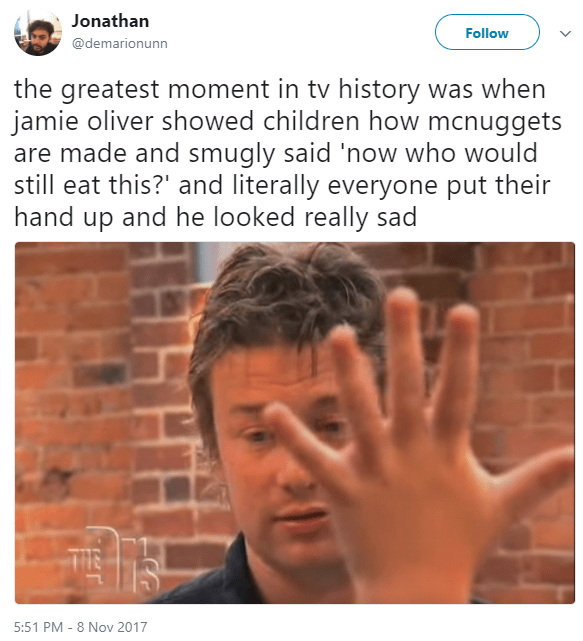Funny meme about jamie oliver being sad about chicken nuggets.