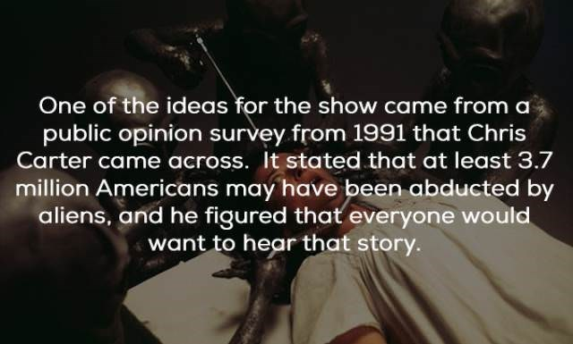 Text - One of the ideas for the show came from a public opinion survey from 1991 that Chris Carter came across. It stated that at least 3.7 million Americans may have been abducted by aliens, and he figured that everyone would want to hear that story.