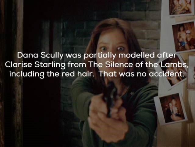 Text - Dana Scully was partially modelled after Clarise Starling from The Silence of the Lambs. including the red hair. That was no accident
