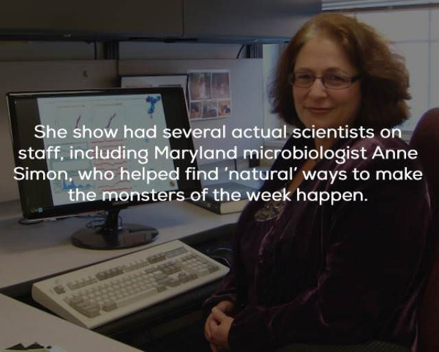 Job - She show had several actual scientists on staff, including Maryland microbiologist Anne Simon, who helped find 'natural ways to make the monsters of the week happen.