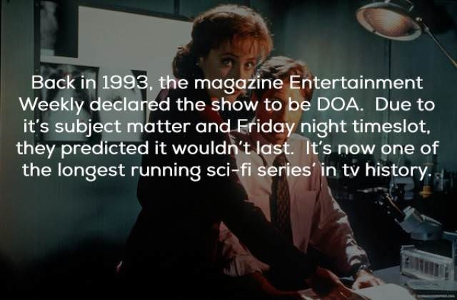 Text - Back in 1993, the magazine Entertainment Weekly declared the show to be DOA. Due to it's subject matter and Friday night timeslot, they predicted it wouldn't last. It's now one of the longest running sci-fi series in tv history.