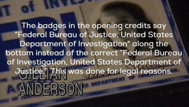 """Text - T of The badges in the opening credits say """"Federal Bureau of Justice. United States Department of Investigation"""" along the bottom instead of the correct """"Federal Bureau of Investigation, United States Department of Jastice This was done for legal reasons. A ANDERSON DEPAR"""