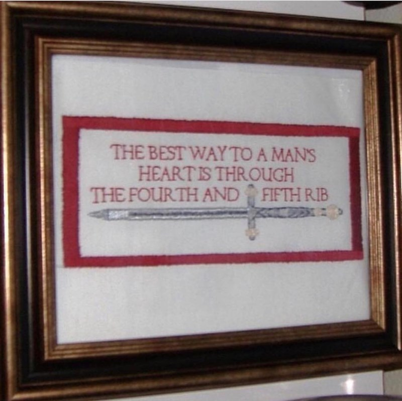 Picture frame - THE BEST WAY TO A MAN'S HEART IS THROUGH THE FOURTH AND FIFTH RIB