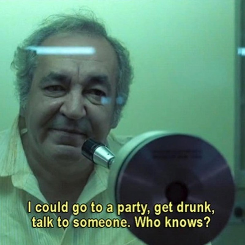 Photo caption - I could go to a party, get drunk, talk to someone. Who knows?