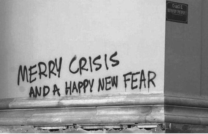 Text - OOE MERRY CRISIS ANDA HAPPY NEW FEAR