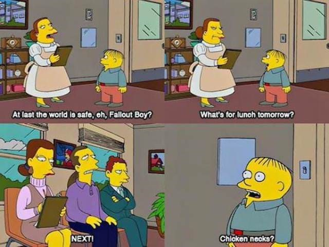 simpsons ralph - Cartoon - What's for lunch tomorrow? At last the world io cafe, ch, Fallout Boy? NEXT Chicken necks?