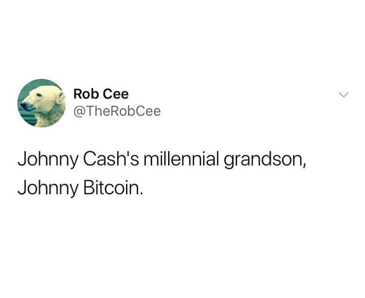 Funny meme about johnny bitcoin, millennial version of johnny cash.