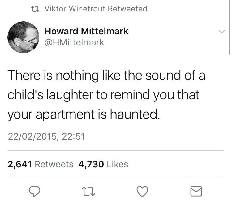 Text - t Viktor Winetrout Retweeted Howard Mittelmark @HMittelmark There is nothing like the sound of a child's laughter to remind you that your apartment is haunted. 22/02/2015, 22:51 2,641 Retweets 4,730 Likes