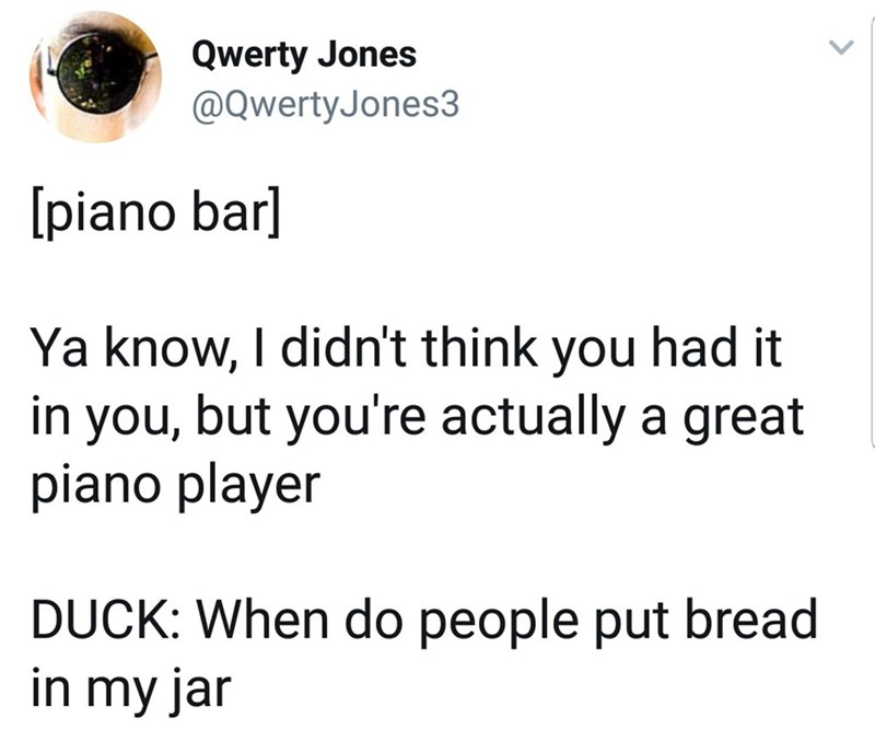 Text - Qwerty Jones @QwertyJones3 [piano bar] Ya know, I didn't think you had it in you, but you're actually a great piano player DUCK: When do people put bread in my jar