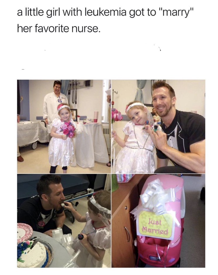 """Pink - a little girl with leukemia got to """"marry"""" her favorite nurse. Just Married"""