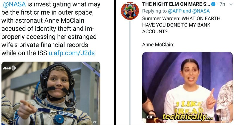 NASA launches an investigation into Anne McClain for the first potential crime in space, and people react with wordplay jokes on Twitter