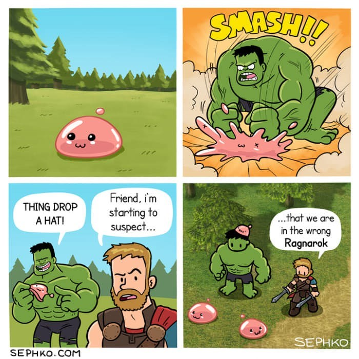 gamer meme with hulk and thor in a comic strip