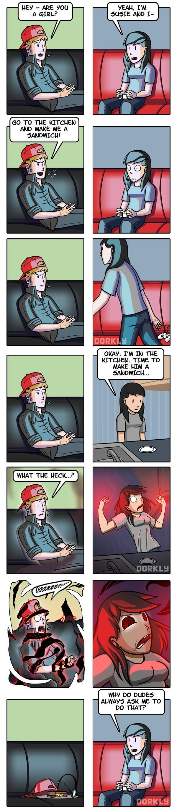gaming meme of a comic that asked a girl to make him a sandwich