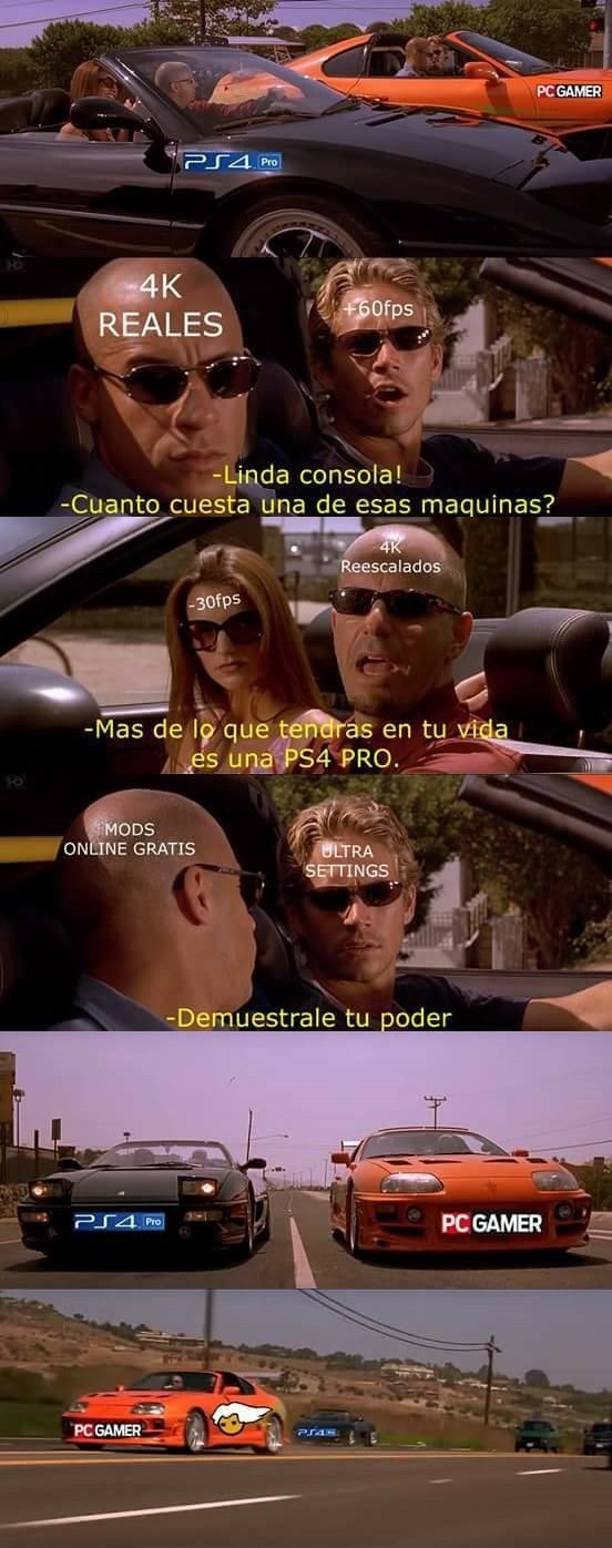 ps4 pro vs pc parodia de fast and furious