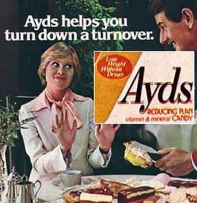 funny product name - Junk food - Ayds helps you turn down a turnover. Ayds hout AEDUCTG PLAN vitamin&mineral CANDY