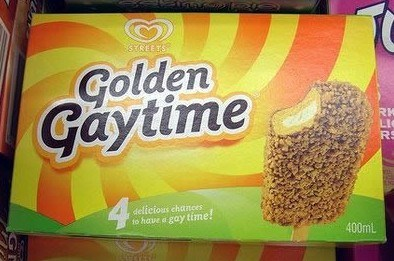 funny product name - Food - SREETS Golden Gaytime RK LI RS 4 delicious chances to have a gay time! 400mL