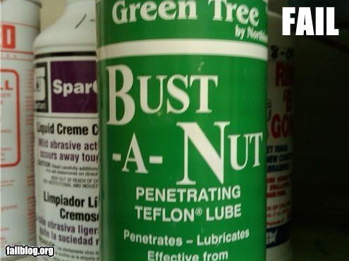 funny product name - Product - Green Tree FAIL by Not BUST A-NU Spar L GO Liquid Creme C idabrasive act ours away tou PENETRATING TEFLON LUBE MACH OF C ANG INDUST Limpiador Li Cremos abrasiva liger suciedad falblog.org Penetrates-Lubricates Effective from