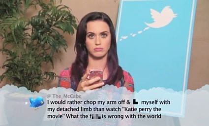"Face - @The McCabe I would rather chop my arm off &L myself with my detached limb than watch ""Katie perry the movie"" What the fi is wrong with the world"