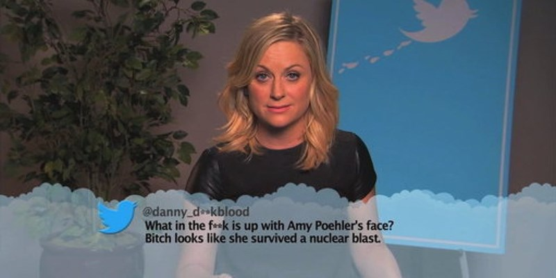 Blond - @danny dkblood What in the fak is up with Amy Poehler's face? Bitch looks like she survived a nuclear blast.