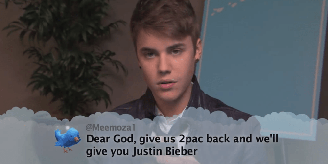 Facial expression - @Meemozal Dear God, give us 2pac back and we'll give you Justin Bieber