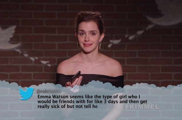Shoulder - @rob Emma Watson seems like the type of girl who I would be friends with for like 3 days and then get really sick of but not tell he #KIMMEL