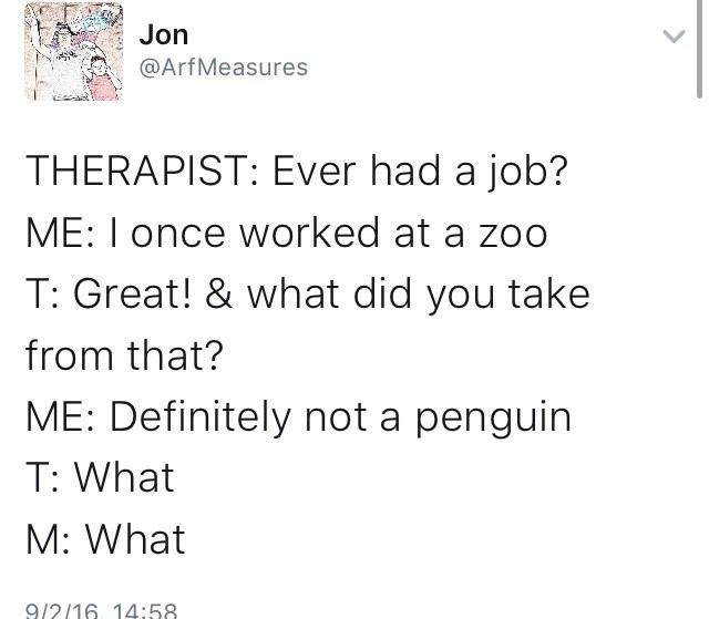 meme - Text - Jon @ArfMeasures THERAPIST: Ever had a job? ME: I once worked at a zoo T: Great! & what did you take from that? ME: Definitely not a penguin T: What M: What 9/2/16 14:58.