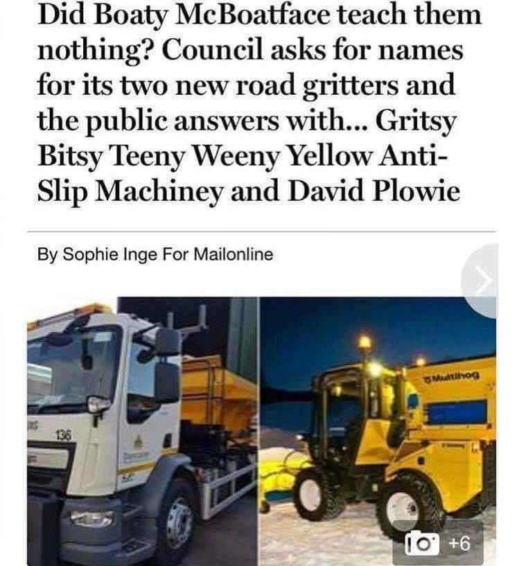 meme - Transport - Did Boaty McBoatface teach them nothing? Council asks for names for its two new road gritters and the public answers with... Gritsy Bitsy Teeny Weeny Yellow Anti- Slip Machiney and David Plowie By Sophie Inge For Mailonline Multihog 136 IO +6