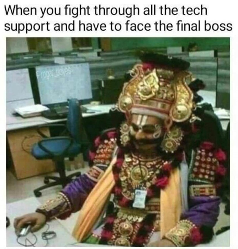 meme - Photography - When you fight through all the tech support and have to face the final boss roger olyes