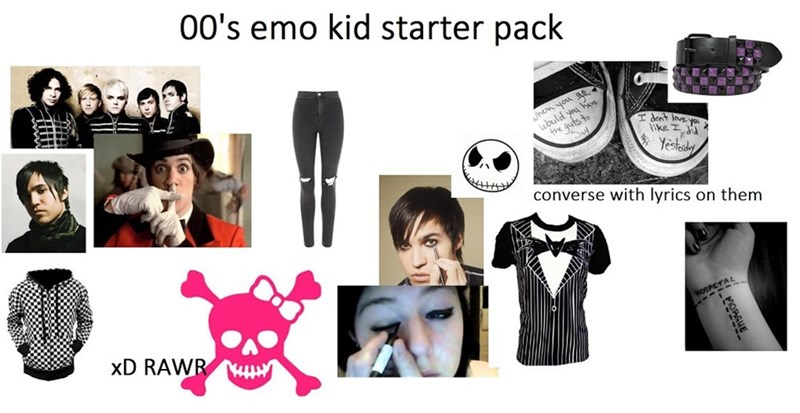 meme - Product - 00's emo kid starter pack hen you ae ld youve I dent love ike the guts to Yestdy converse with lyrics on them HOSPETAL xD RAWR