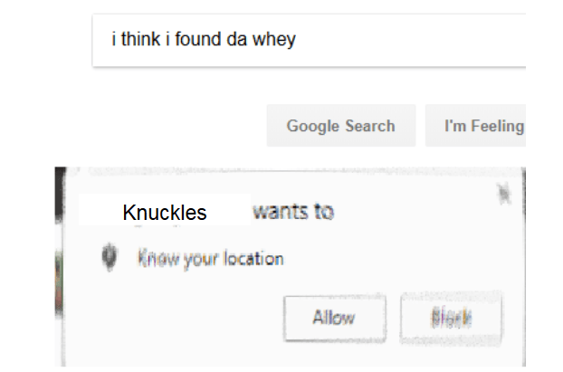 Text - i think i found da whey I'm Feeling Google Search wants to Knuckles Know your location gions Allow