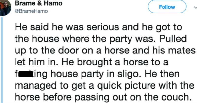 Musician recounts story of a fan who rode a horse to a house party and took a photo.