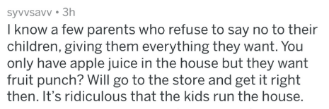 Text - syvvsavv 3h I know a few parents who refuse to say no to their children, giving them everything they want. You only have apple juice in the house but they want fruit punch? Will go to the store and get it right then. It's ridiculous that the kids run the house.