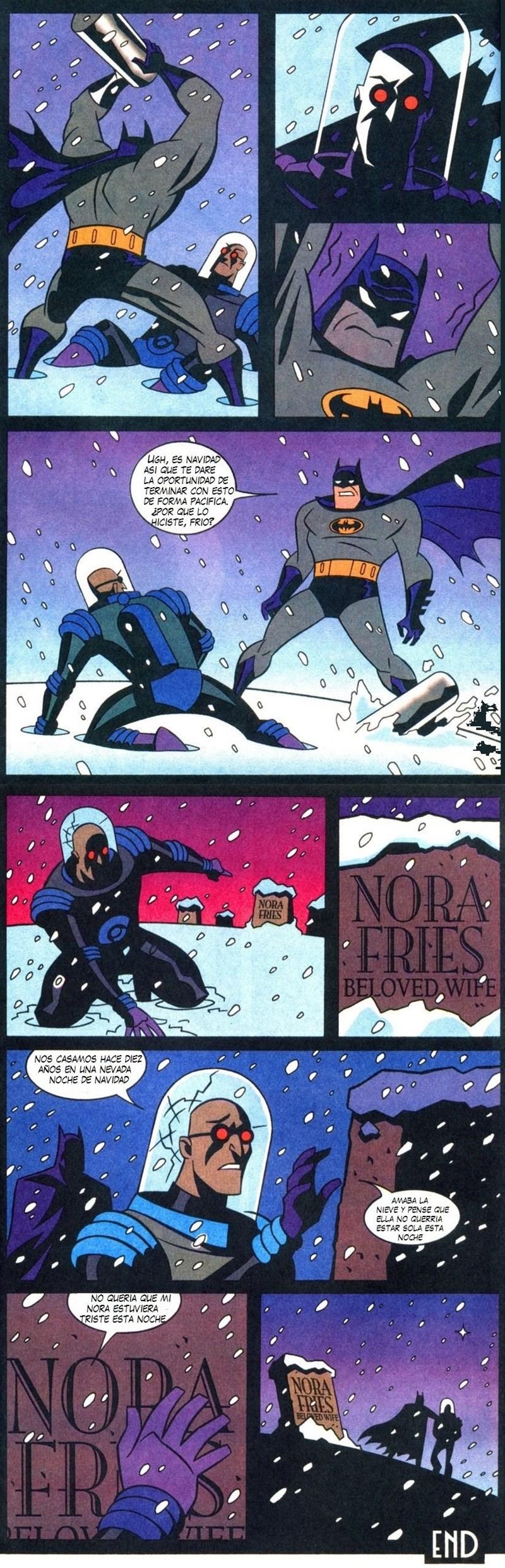 batman se enfrenta a mister frio y este le explica su origen