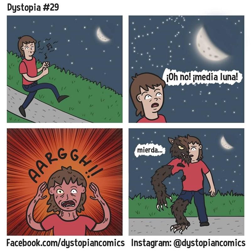 oh no media luna medio hombre lobo