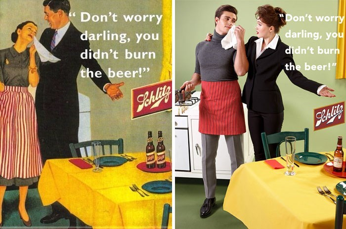 "Retro style - Don't worry Don't worry darling, you darling, you didn't burn the beer!"" didn't burn the beer!"" 9ehlitg StAlits"