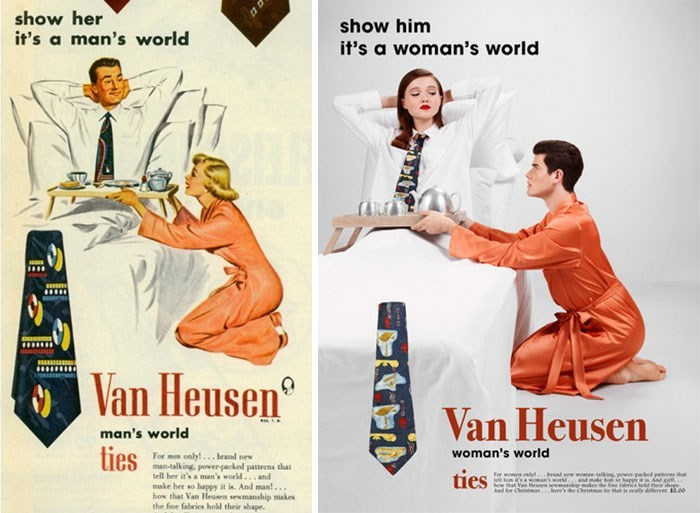 Poster - show her it's a man's world show him it's a woman's world Van Heusen Van Heusen man's world ties woman's world For men only!...brand new man-talking, power-packed patterns that tell her it's a man's world... and make her so happy it is. And man... how that Van Heuen sewmanship makes the fine fabrics hold their shape. ties Er w aneweed pees and make hn e hap And s.. d him t'sa how that Van m h'se Chr te tht is ay dee 12.00 for Cra a d