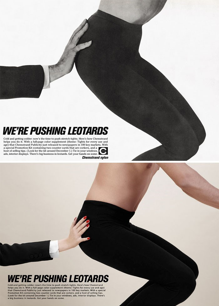 Leg - WE'RE PUSHING LEOTARDS Cold and getting colder: now's the time to push stretch tights. Here's how Chemstrand helps you do it. With a full-page color supplement (theme: Tights for every use and age) th a special Promotion Kit containing two counter cards that are corkers, and a host of selling tips. (Look for the kit around December 1.) Tie in your windows, ads, interior displays. There's big business in leotards. Get your hands on some. mstrand Publicity just released to newspapers in 100