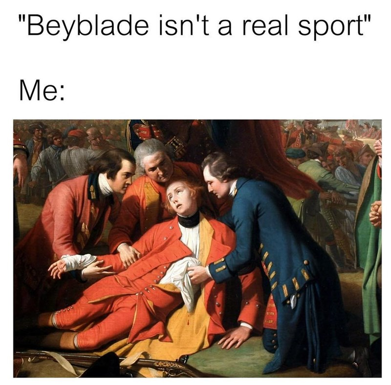 Funny meme about beyblades being a sport, art, art meme, classicalfuck.