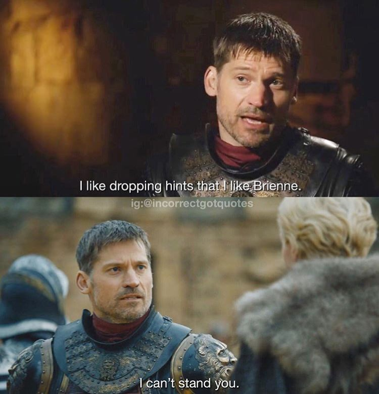 meme - Human - I like dropping hints that like Brienne. ig:@incorrectgotquotes lcan't stand you.