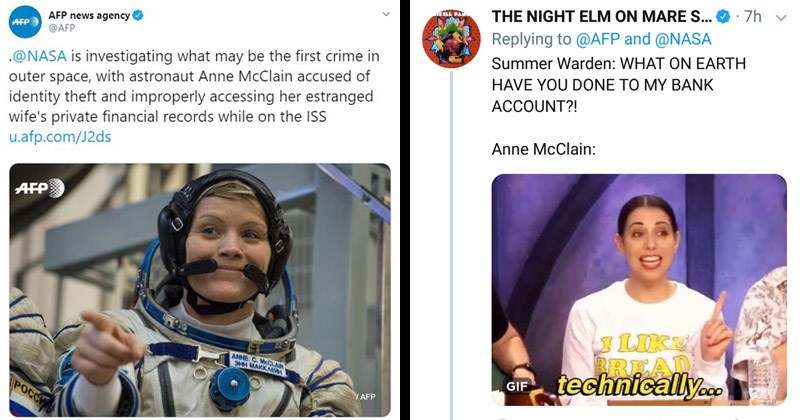 Funny tweets about the first crime ever committed in space