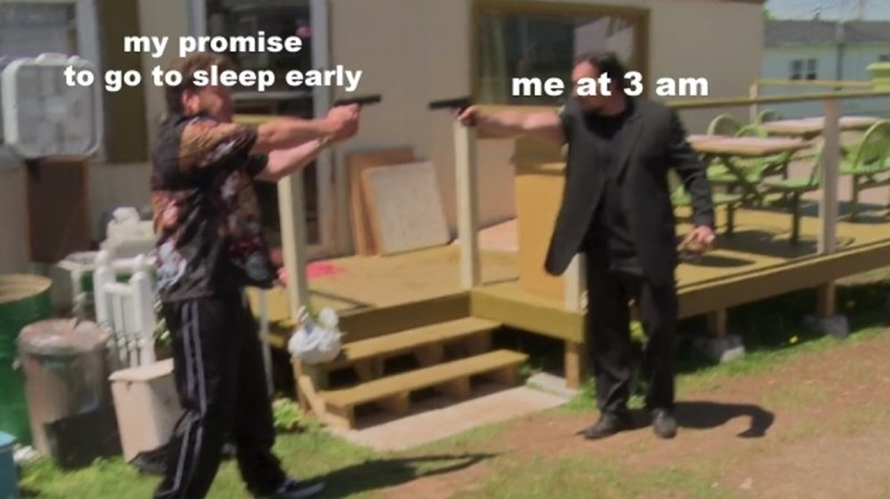 Funny meme about going to sleep early.