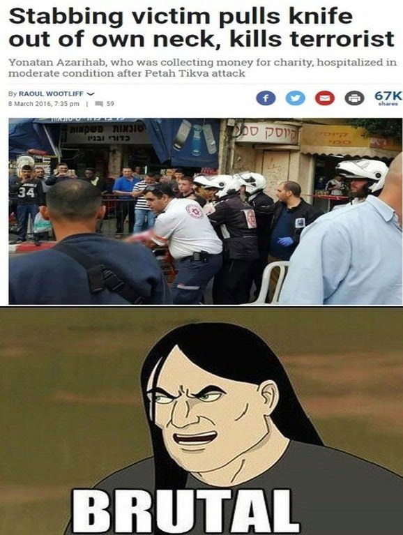 Funny meme about a man who pulled a knife out of neck and stabs terrorist.