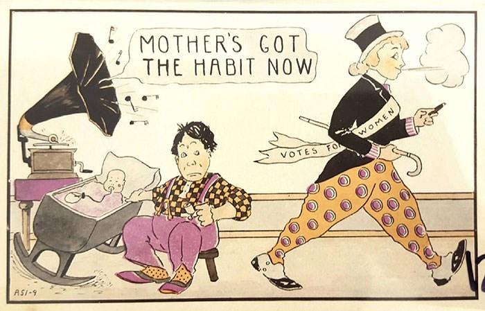 anti-suffrage postcard - Cartoon - MOTHER'S GOT THE HABIT NOW WOMEN FOL VOTES ASI-9