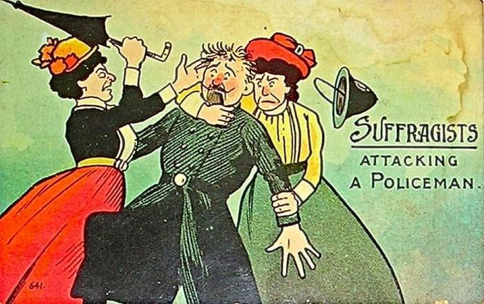 anti-suffrage postcard - Cartoon - SUFFRAGISTS ATTACKING A POLICEMAN. 641