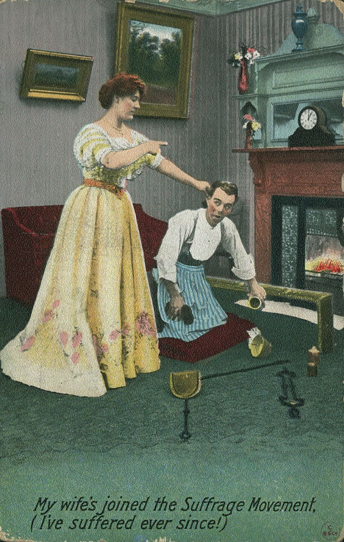 anti-suffrage postcard - Vintage clothing - My wife's joined the Suffrage Movement, (Tve suffered ever since!)