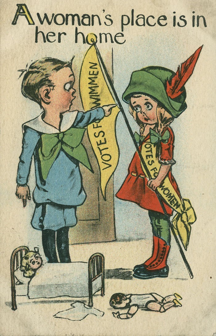anti-suffrage postcard - Cartoon - Awoman's place is in her home VOTES FWIMMEN VOTES FO WOMEN